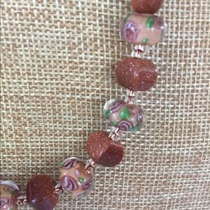 Goldstone necklace and earring set-NWOT